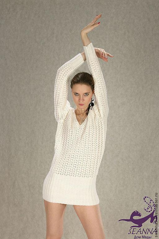 """Платья ручной работы. Ярмарка Мастеров - ручная работа. Купить Платье-свитер """"Снежность"""" вязаное в разных цветах. Handmade. Белый"""