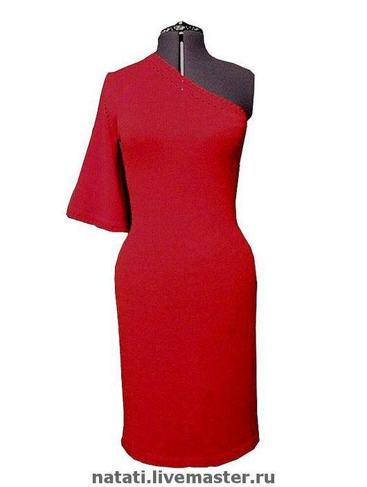 Платья ручной работы. Ярмарка Мастеров - ручная работа. Купить Красное платье. Handmade. Вязаное платье, хлопок 50%