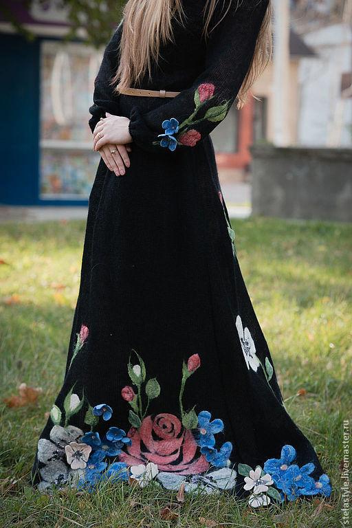 Платья ручной работы. Ярмарка Мастеров - ручная работа. Купить Brio. Handmade. Черный, вязаное платье, авторская ручная работа