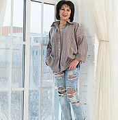Блузки ручной работы. Ярмарка Мастеров - ручная работа Рубашка в мужском стиле оверсайз лен полоска. Handmade.