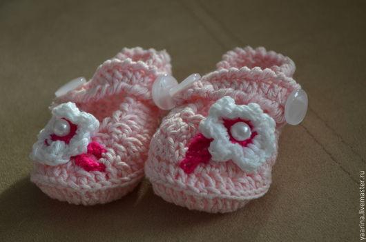 Для новорожденных, ручной работы. Ярмарка Мастеров - ручная работа. Купить пинетки сандалии. Handmade. Пинетки, розовый
