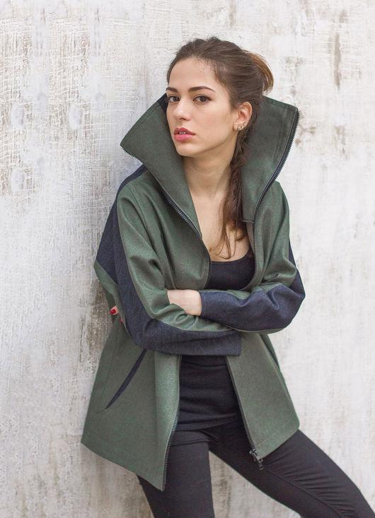 Верхняя одежда ручной работы. Ярмарка Мастеров - ручная работа. Купить Стильная куртка с высоким воротником / Летняя куртка. Handmade.