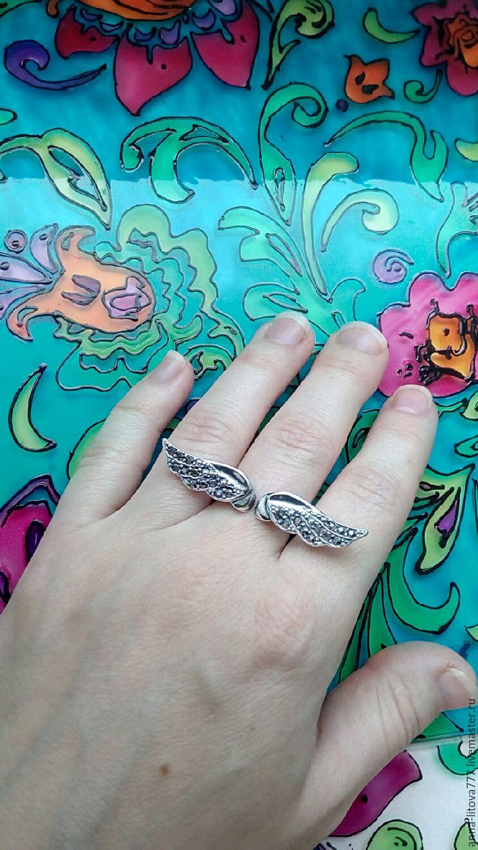 Кольца ручной работы. Ярмарка Мастеров - ручная работа. Купить 113 Кольцо серебрение со стразами, Крылья. Handmade. Бижутерия