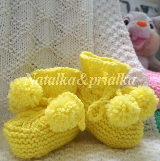 Для новорожденных, ручной работы. Ярмарка Мастеров - ручная работа. Купить Пинетки желтые с помпонами. Handmade. Желтый, пинетки для девочки