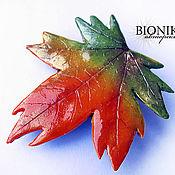 Украшения handmade. Livemaster - original item Brooch-hairpin made of polymer clay Maple leaf. Handmade.