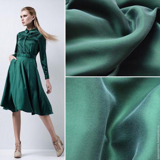 Шитье ручной работы. Ярмарка Мастеров - ручная работа. Купить Зеленый мокрый (вареный) шелк Италия. Handmade. Тёмно-зелёный