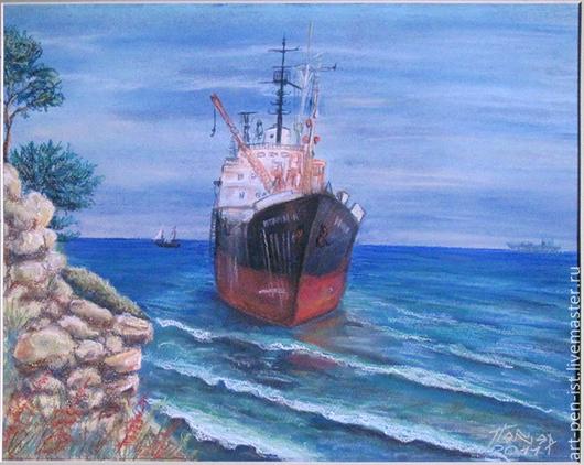 Пейзаж ручной работы. Ярмарка Мастеров - ручная работа. Купить Картина Геленджик. Голубая бухта. Ибрагим-R графика-пастель 45х52. Handmade.