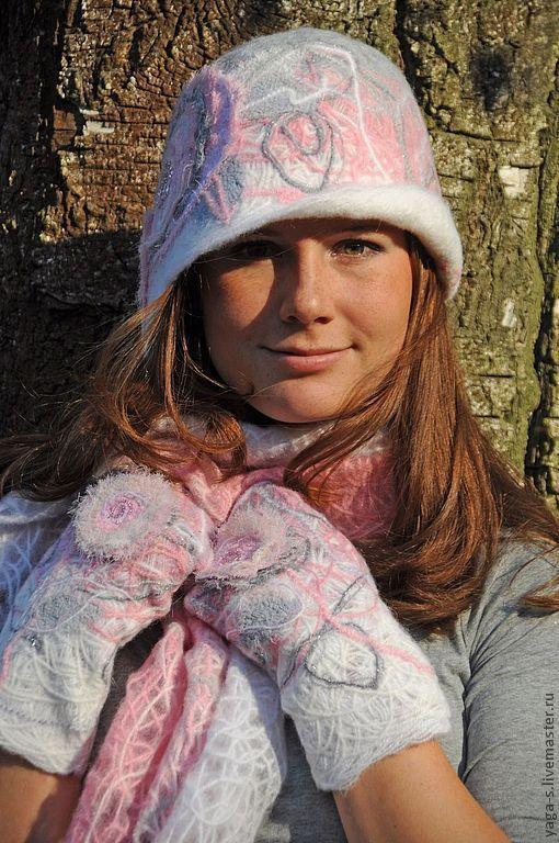 Варежки, митенки, перчатки ручной работы. Ярмарка Мастеров - ручная работа. Купить Варежки «Розовый сад». Handmade. Розовый