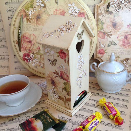 Чайный домик Французский Сад декупаж.Чайный домик для кухни.Домик для чая.Домик для чайных пакетов.Чайный домик в подарок.Подарок на новоселье. Чайный домик купить.Чайный домик в подарок
