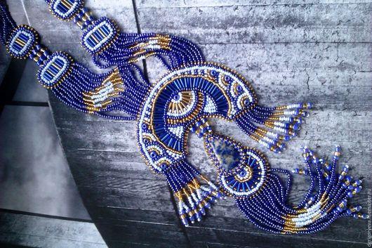 Колье, бусы ручной работы. Ярмарка Мастеров - ручная работа. Купить Восточная ночь: вышитый бисером кулон с натуральным лазуритом. Handmade.