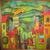 """Картины ручной работы. Ярмарка Мастеров - ручная работа Горячий Батик панно """"Летающий кот"""". Handmade."""