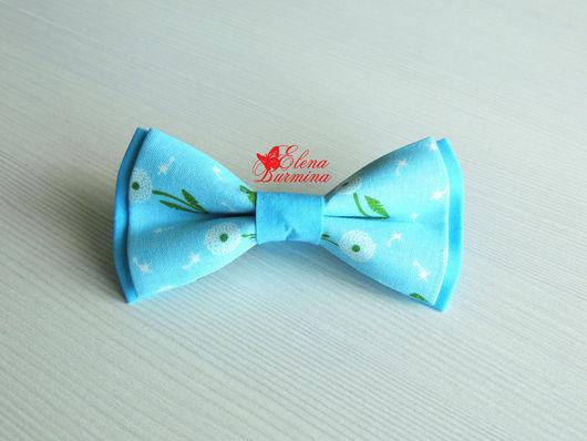 Галстуки, бабочки ручной работы. Ярмарка Мастеров - ручная работа. Купить Бабочка галстук с одуванчиками голубая, хлопок. Handmade. Голубой