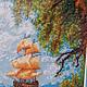 Пейзаж ручной работы. Вышитая крестиком картина Парусник. валентина. Интернет-магазин Ярмарка Мастеров. Картина, картина для интерьера