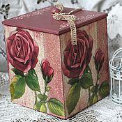 Для дома и интерьера ручной работы. Ярмарка Мастеров - ручная работа Короб Розы декупаж розовый цветы. Handmade.