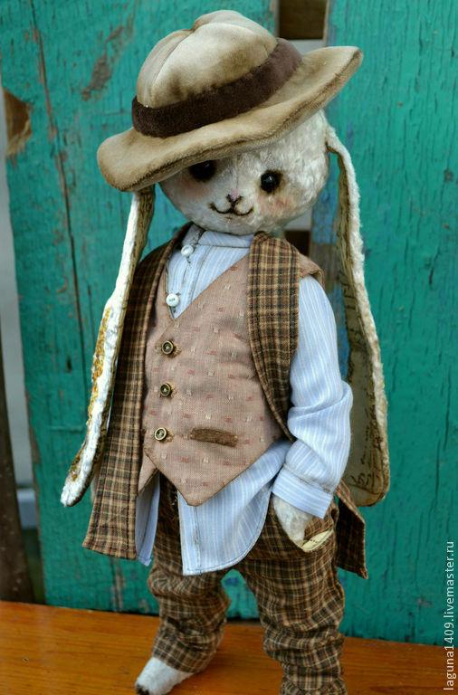 """Мишки Тедди ручной работы. Ярмарка Мастеров - ручная работа. Купить Плюшевый заяц """"Есенин"""". Handmade. Белый, винтаж"""
