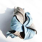 "Украшения handmade. Livemaster - original item Copy of Leather brooch flower Orchid ""Blue Silence"" blue jeans denim. Handmade."