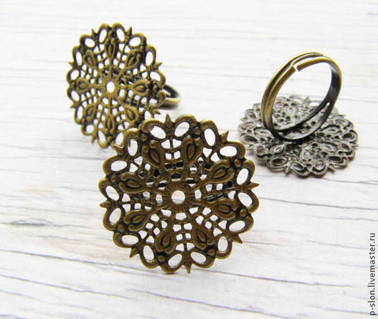Для украшений ручной работы. Ярмарка Мастеров - ручная работа. Купить Основа для кольца бронза с ажурной площадкой О1. Handmade.