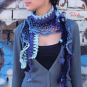 "Аксессуары handmade. Livemaster - original item Scarf knitted ""jeans color"" boho style. Handmade."