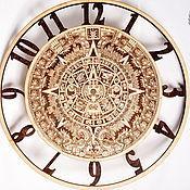 """Часы классические ручной работы. Ярмарка Мастеров - ручная работа Деревянные настенные часы """"Календарь Майя"""". Handmade."""