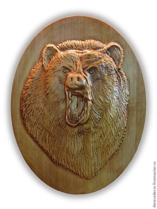 Животные ручной работы. Ярмарка Мастеров - ручная работа. Купить Панно из дерева. Медведь.. Handmade. Коричневый, оскал, лак