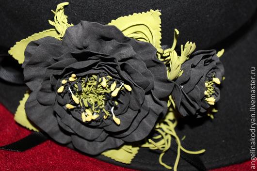 """Броши ручной работы. Ярмарка Мастеров - ручная работа. Купить Брошь-зажим для волос""""Фантазийный цветок"""". Handmade. Черный"""