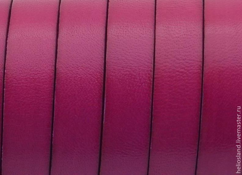 Кожаный шнур плоский 10 мм фуксия, Шнуры, Москва,  Фото №1