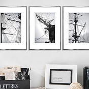 Картины и панно handmade. Livemaster - original item Black-and-white photographs for the interior of Ships Triptych fine art photographs. Handmade.