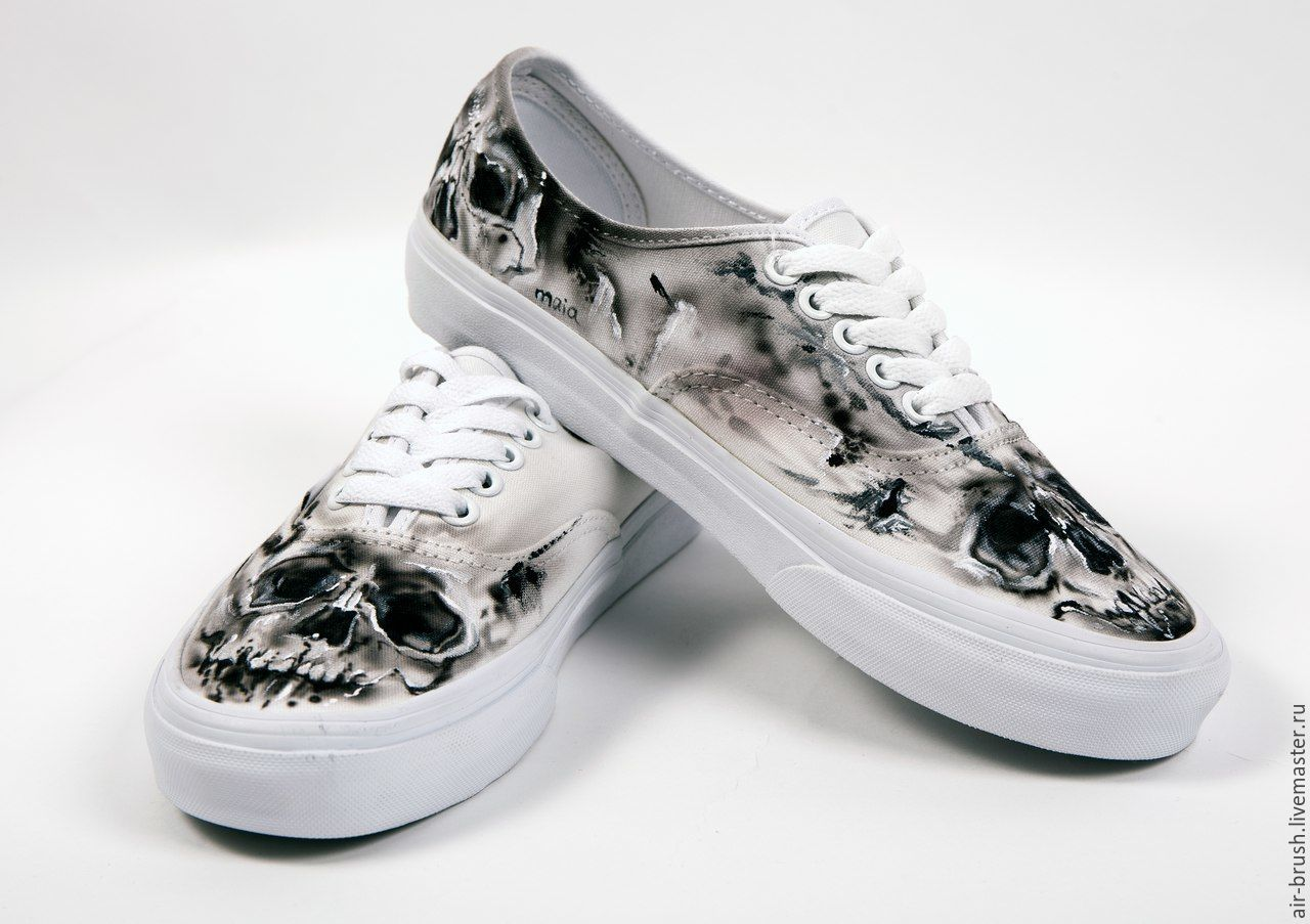 Shoes Vans c drawing 'Skull', Training shoes, Nizhny Novgorod,  Фото №1