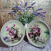 """Посуда ручной работы. Ярмарка Мастеров - ручная работа Дуэт тарелок """"Букет Прованса"""". Handmade."""