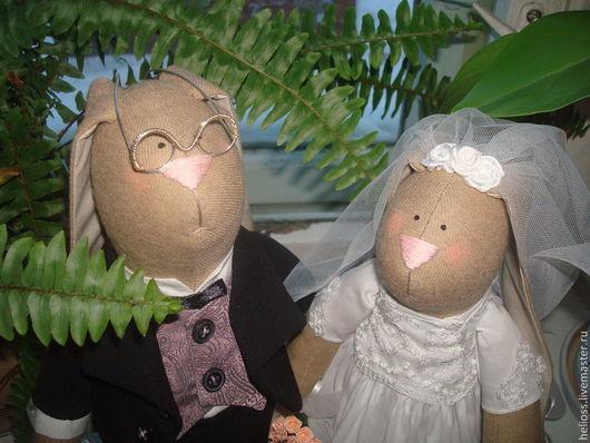 Куклы Тильды ручной работы. Ярмарка Мастеров - ручная работа. Купить Свадебные зайки. Handmade. Бежевый, жених и невеста