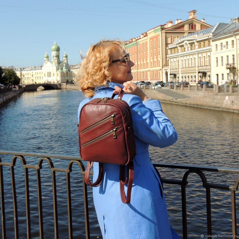 Backpack leather female Burgundy rosemary Mod P27-182, Backpacks, St. Petersburg,  Фото №1