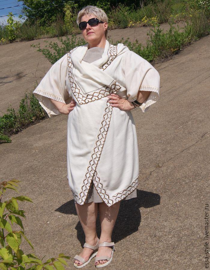 Верхняя одежда ручной работы. Ярмарка Мастеров - ручная работа. Купить Летнее бохо-пальто 6. Handmade. Белый, для полных