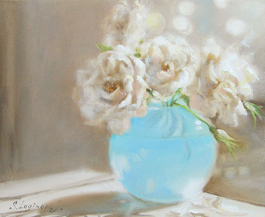 Картины цветов ручной работы. Ярмарка Мастеров - ручная работа. Купить Morning Light. Handmade. Белый, розы, цветы