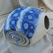 """Для домашних животных, ручной работы. Ярмарка Мастеров - ручная работа домик для котика """" Каури синяя"""". Handmade."""