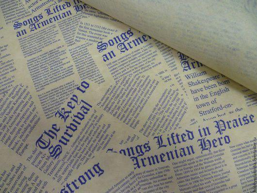 """Упаковка ручной работы. Ярмарка Мастеров - ручная работа. Купить Крафт-бумага """"Газета"""" синяя 50х64 см. Handmade. Крафт"""