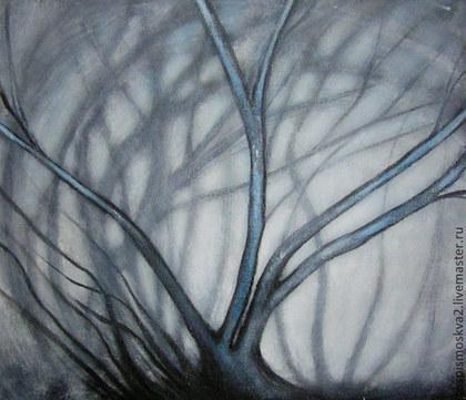 Пейзаж ручной работы. Ярмарка Мастеров - ручная работа Картина   Старое  дерево  пейзаж  акрил  лес  деревья. Handmade.