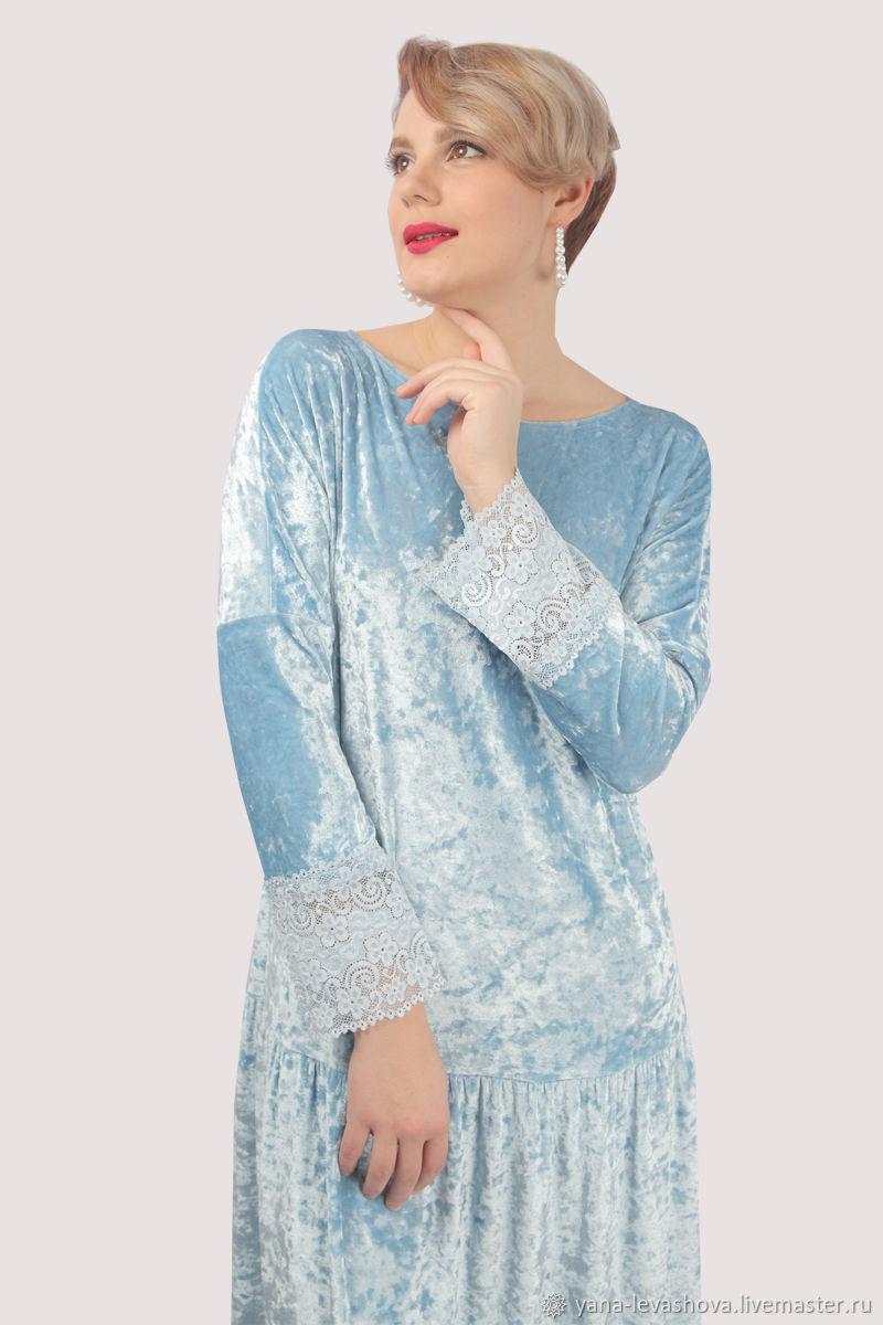 Платье нарядное вечернее голубое бархат с кружевом в пол, Платья, Москва,  Фото №1