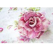 Украшения ручной работы. Ярмарка Мастеров - ручная работа Молочно-розовая роза - войлочная брошь. Handmade.