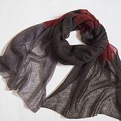 Аксессуары handmade. Livemaster - original item Stole brown Bordeaux knitted kid mohair black Scarf. Handmade.