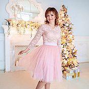 Одежда ручной работы. Ярмарка Мастеров - ручная работа Пудровая юбка из фатина, миди юбка цвета пудры. Handmade.