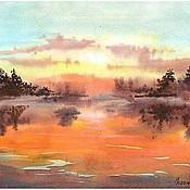 Картины и панно ручной работы. Ярмарка Мастеров - ручная работа Осень...закат. Handmade.