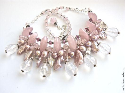 Колье чокер из серебра и жемчуга с розовым кварцем и розовыми топазами. Только натуральные камни жемчуг и серебро.