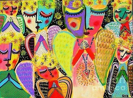 """Абстракция ручной работы. Ярмарка Мастеров - ручная работа. Купить """" Ангелочки """". Handmade. Подарок, оригинальный подарок"""