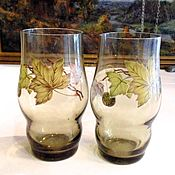 Винтаж handmade. Livemaster - original item Two glasses of USSR olive glass. Handmade.