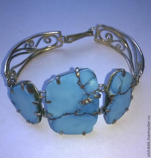 """Браслеты ручной работы. Ярмарка Мастеров - ручная работа. Купить Браслет """"3 камня"""" бирюза. Handmade. Голубой, бирюзовый браслет"""