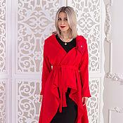 Одежда ручной работы. Ярмарка Мастеров - ручная работа Красный квадрат Малевича- кардиган вязаный асимметричный. Handmade.