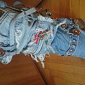 Обувь ручной работы. Ярмарка Мастеров - ручная работа Сапоги джинсовые, 36 размер, казаковый каблук 9см. Handmade.