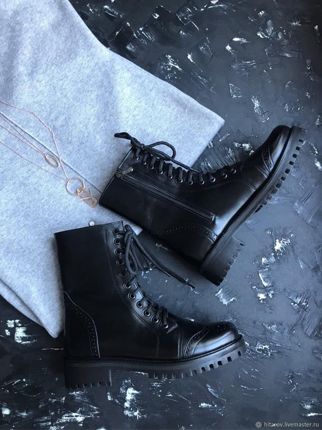 Time 'black perforation black tread sole», Boots, Moscow,  Фото №1