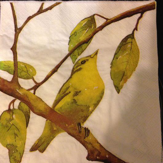 Салфетка для декупажа - Птичка на ветке `Весна-осень` Декупажная радость
