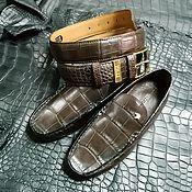 Обувь ручной работы handmade. Livemaster - original item Moccasins and belt, men`s gift set made of crocodile leather.. Handmade.